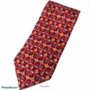 XL ZEGNA Red Blue Gray Cream Tan Flowers Silk Tie